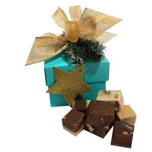 Christmas Fudge Sampler Gift Box-Aqua